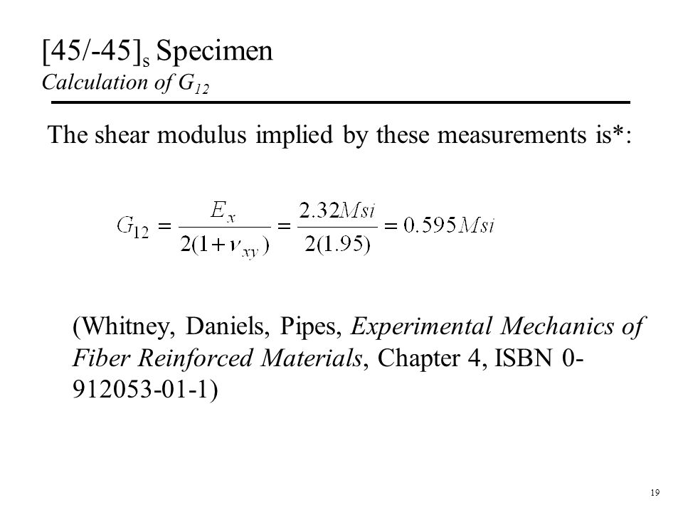 [45/-45]s Specimen Calculation of G12